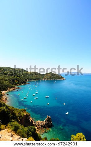 A Typical Italian Seascape With Hills And Indented Coastline - stock photo