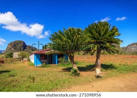 A typical landscape of a Vinales, Cuba - stock photo