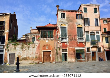 A typical little Venetian square Campiello Mosca at morning time, Venice, Italy - stock photo