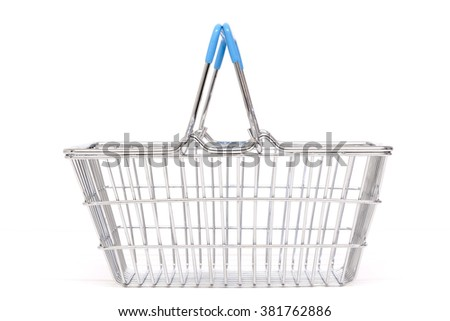 A typical metal shopping basket with blue plastic handles isolated against a white background