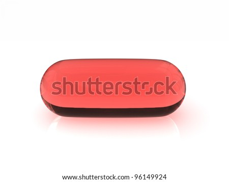 A typical red translucent gel capsule on a white reflective surface - stock photo