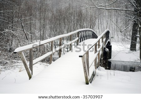 A typical scene in New England after a winter storm - stock photo