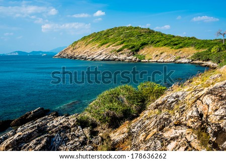 A Typical Thailand Seascape With Hills And Indented Coastline - stock photo