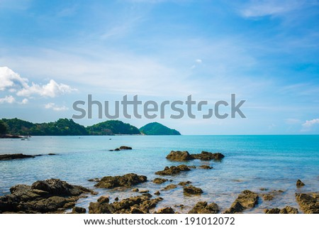 A Typical Thailand Seascape With Hills And Indented Coastline