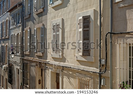 """A typical view of the historic quarter """"Le Panier"""" in Marseille in South France - stock photo"""