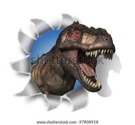 A Tyrannosaurus Rex pokes his head through your document - 3D render with digital painting.