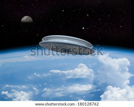 A UFO entering the earth's atmosphere with the moon visible in the distance. Alien invasion! Welcome our new overlords! - stock photo