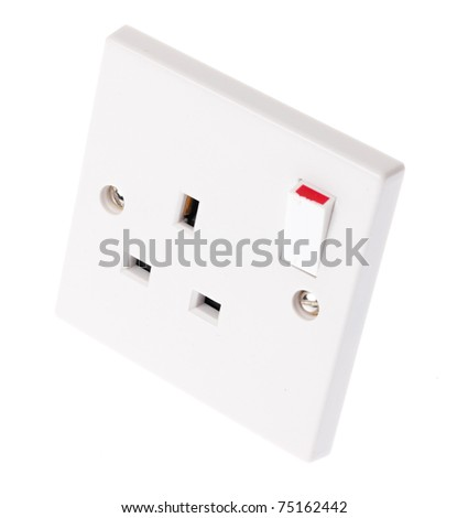 A UK plug socket with the switch in the on postion - stock photo