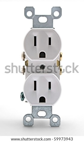 A uninstalled white electrical outlet - stock photo