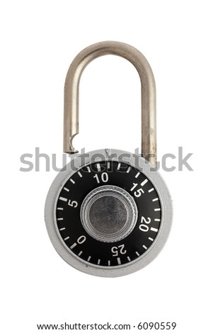 A unlocked combination padlock isolated on white background