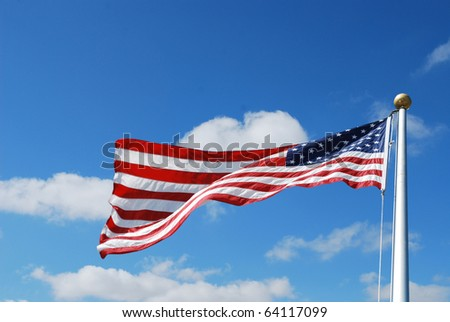 A US flag on blue sky