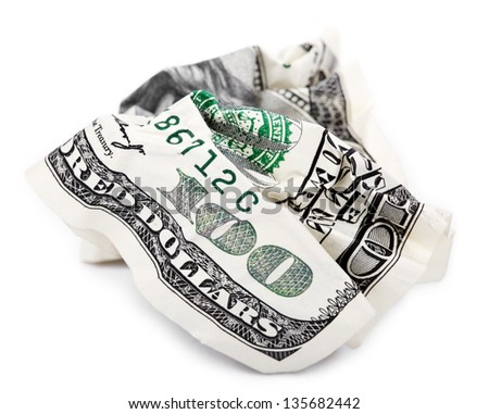 A 100 US$ money note isolated on white background, very shallow depth of field.