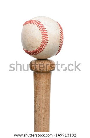 A used baseball resting on the knob end of a wood bat. Vertical format isolated on white. - stock photo