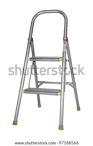 A used metallic step ladder isolated on white with a clipping path - stock photo
