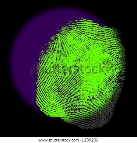 A UV spotlight Reveals the Hidden Fingerprint Evidence. - stock photo