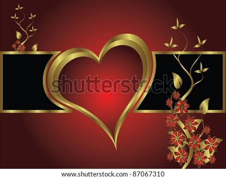 A valentines background with gold hearts on a deep red backdrop  with   room for text