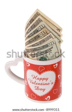 A valentines coffee cup surprise showing what women want.