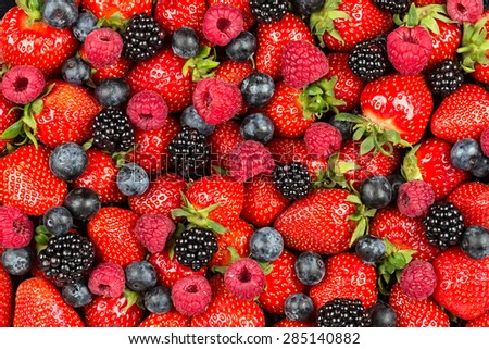 a variation of  berry fruits  - stock photo