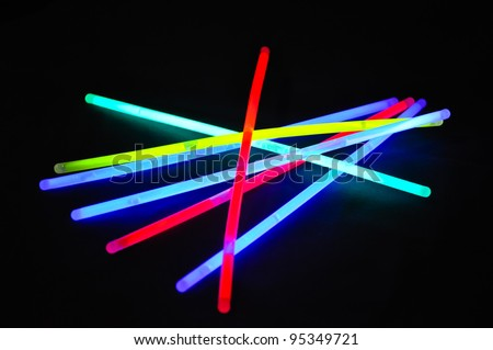 a variation of different colored chem lights - stock photo