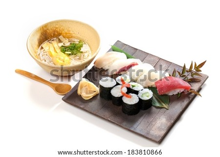 A variety of Asian food such as sushi. - stock photo
