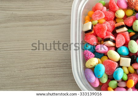 A variety of colorful candy - stock photo