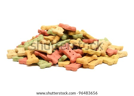A variety of flavourful treats to reward mans best friend. - stock photo