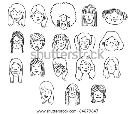 A variety of hand-drawn female heads / faces - stock photo