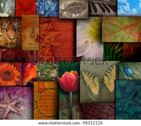 A variety of mosaic squares with a butterfly, flowers, animals and instruments inside them. Use it for an art textured background. - stock photo