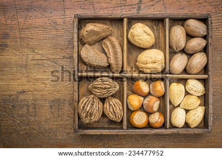 a variety of nuts (walnut, pecan, hazelnut, Brazilian and almond)  in a rustic wooden box against grunge wood surface with a copy space