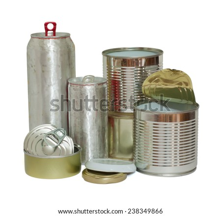 A variety of recyclable metal objects isolated on white.