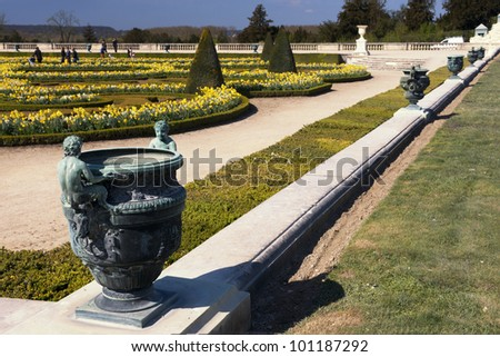 A Vase in the Garden of Versailles Palace - stock photo