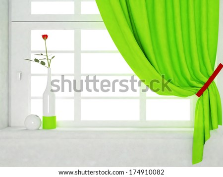 a  vase with a rose is standing on the sill - stock photo