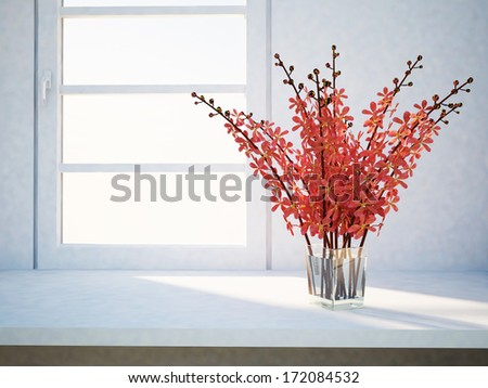 a vase with the flowers near the window - stock photo