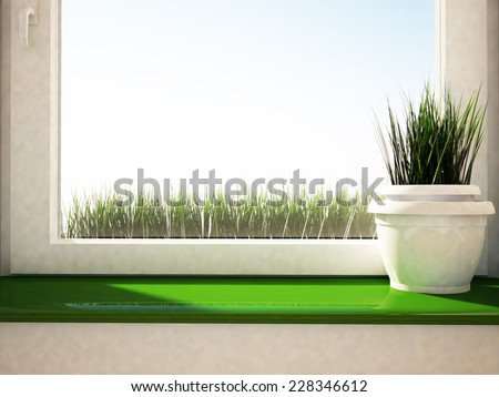 a vase with the grass on the green windowsill, 3D rendering - stock photo