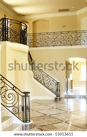 A vaulted ceiling decorated with art work - stock photo