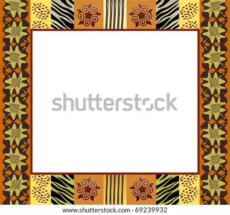 A vector illustration of an African style frame in earth tones. Space for your text or picture. Also available in vector format. - stock photo