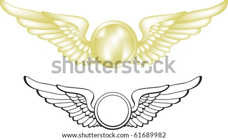 A vector illustration of gold pilot wings. Two versions are included. - stock photo