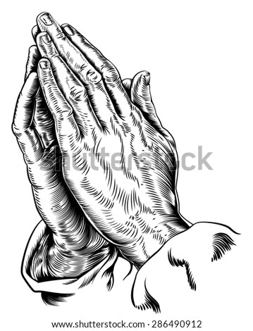 A vector illustration of praying hands inspired by Albrecht Durer s1508 study - stock photo