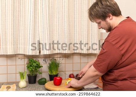 a vegetarian diet for a young thick man - stock photo