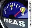 A vehicle fuel gauge with the word Ideas and needle pointing to a full light bulb symbol, representing that the leader or team has sufficient innovative and brain power to achieve a goal successfully - stock vector