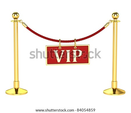 A velvet rope barrier, with a vip sign Isolated on white background - stock photo