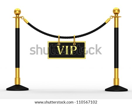 A velvet rope barrier, with a vip sign on white background - stock photo