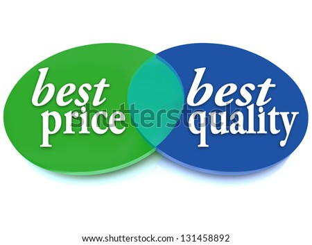 A Venn diagram of overlapping circles with the words Best Price and Best Quality to symbolize the best purchase choice that is better in cost and value - stock photo