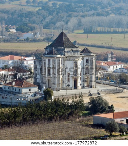 A very ancient Church in the vineyards - Obidos, Portugal - stock photo