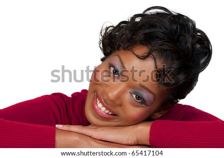 A very beautiful African American black woman with a big smile - stock photo