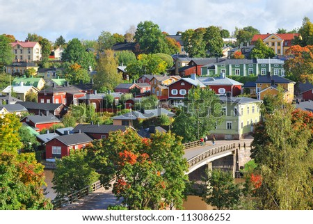 A very beautiful old town in Finland - Porvoo. View from the steep bank of the river