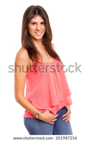 A very beautiful young woman posing isolated over copy space background