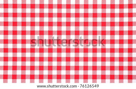 A very close view of a red and white checkerboard tablecloth.