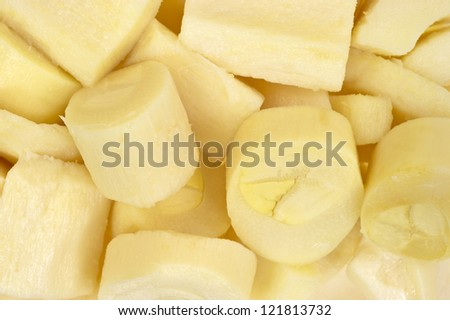 A very close view of chunks of hearts of palm. - stock photo