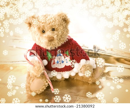 A very cute teddy bear wearing Christmas sweater - stock photo